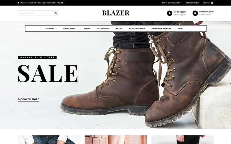 Blazer - Többcélú BigCommerce téma, amelyet Stencil üzemeltet