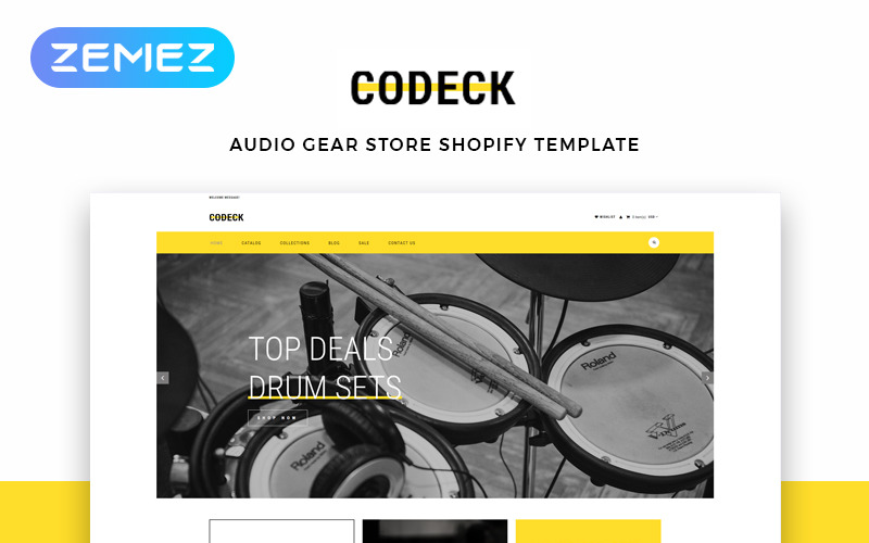 Codeck - Audio Store eCommerce Modern Shopify Theme