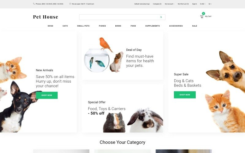 Pet House - Pet Shop eCommerce Modern OpenCart Template