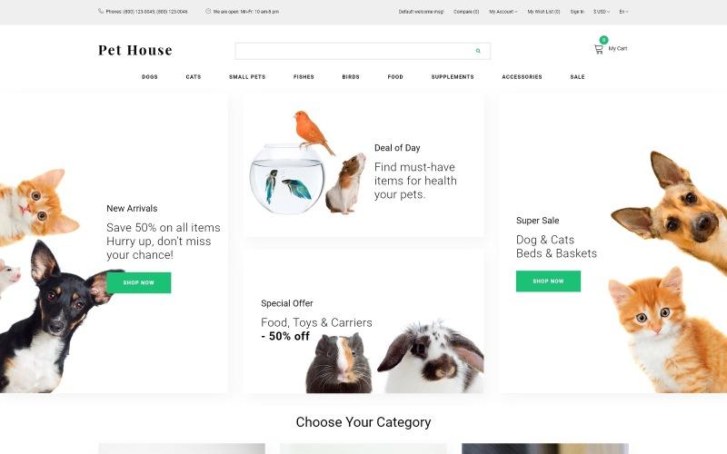 Pet House - Pet Shop eCommerce Nowoczesny szablon OpenCart