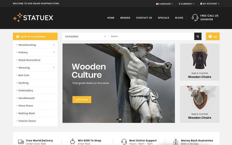 Statuex-美术馆商店OpenCart模板