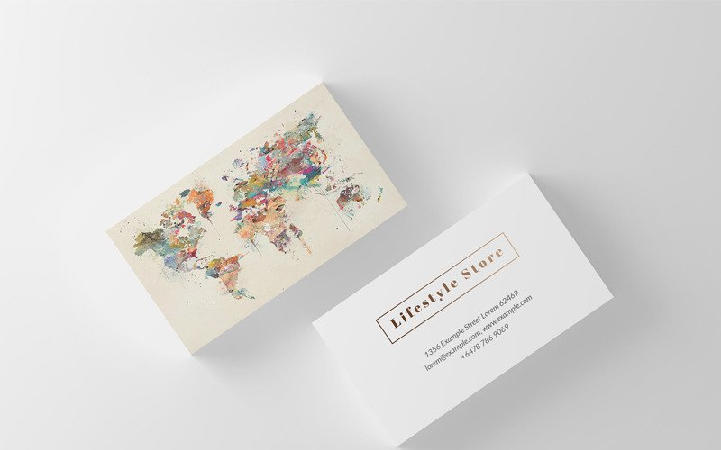Watercolor World Map Business Card - Corporate Identity Template