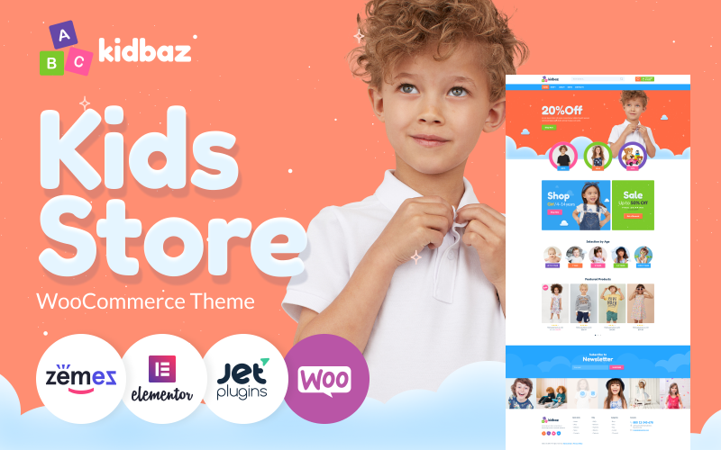 Kidbaz - Kids Stuff E-commerce Modern Elementor WooCommerce-thema