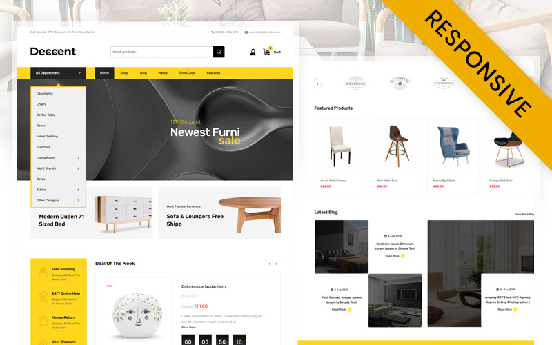 Deccent Furniture Store WooCommerce-Thema