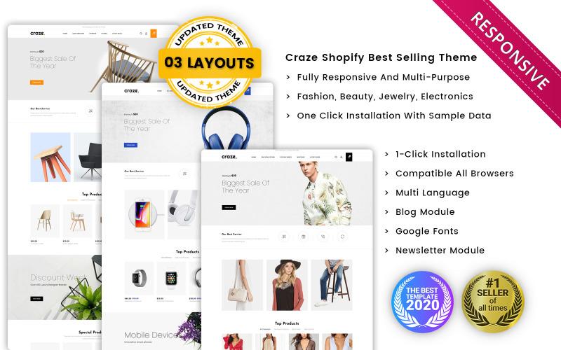 Божевілля - Адаптивна преміум-тема Shopify від Multishop