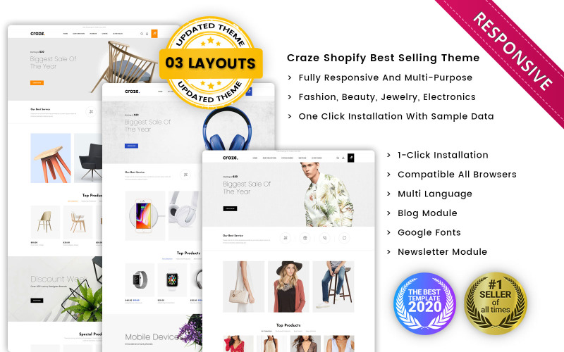 Craze - O tema do Shopify Premium Responsive Multishop