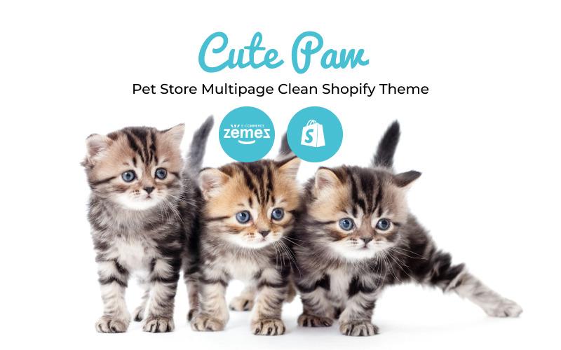 Cute Paw - Tema Shopify pulito multipagina per negozio di animali
