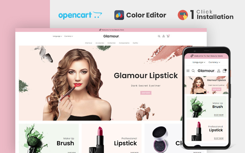 Glamour Cosmetics Store OpenCart-sjabloon