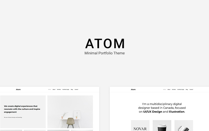 Atom - Minsta portfölj WordPress-tema