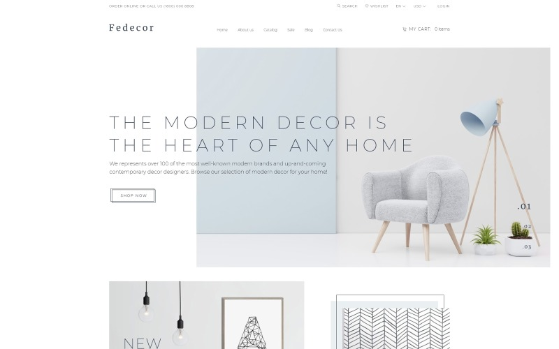 Fedecor - Interieurontwerp Multipage Clean OpenCart-sjabloon