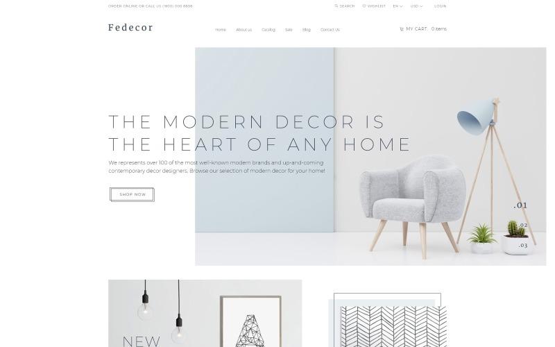 Fedecor - Modelo de OpenCart limpo de várias páginas para design de interiores