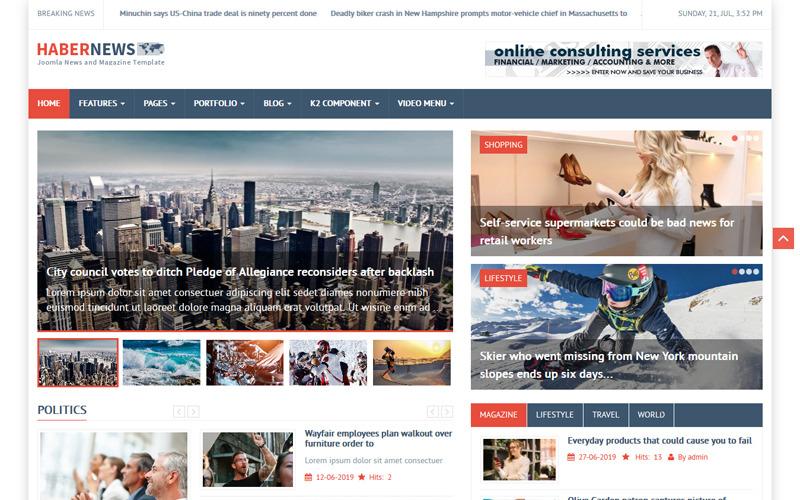 Plantilla Joomla de noticias y revistas de Habernews