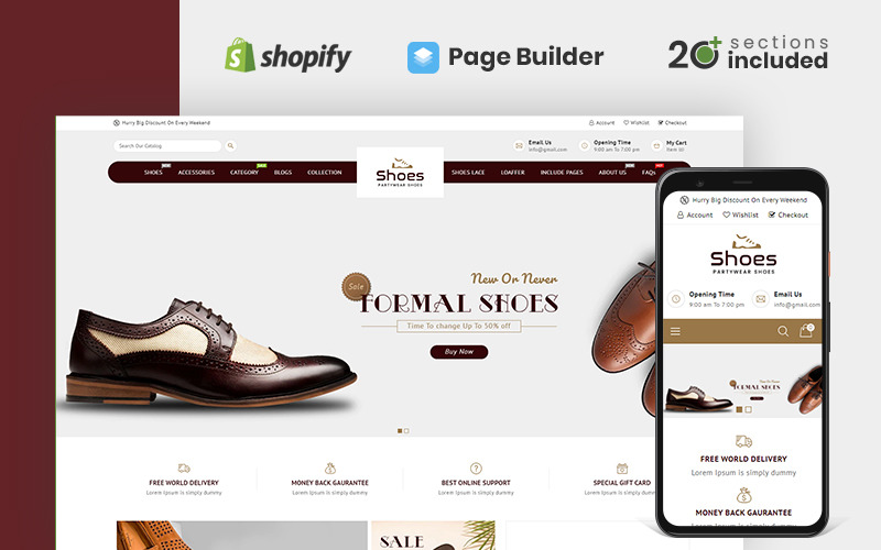 Duyarlı Ayakkabı Mağazası Shopify Teması