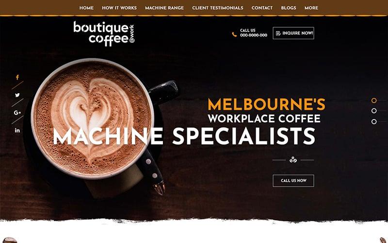 Boutique Coffee - PSD шаблон для кофейни