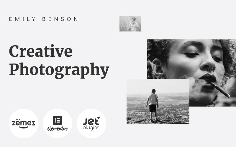 Emily Benson - Fotografering En sida svartvitt WordPress Elementor-tema