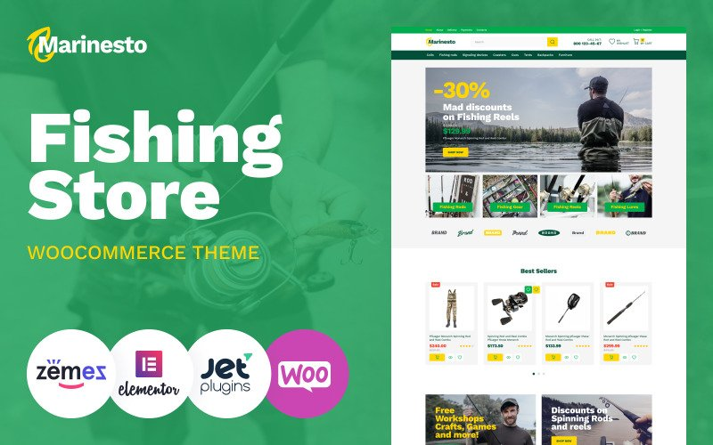 Marinesto - Fishing ECommerce Klasyczny motyw Elementor WooCommerce