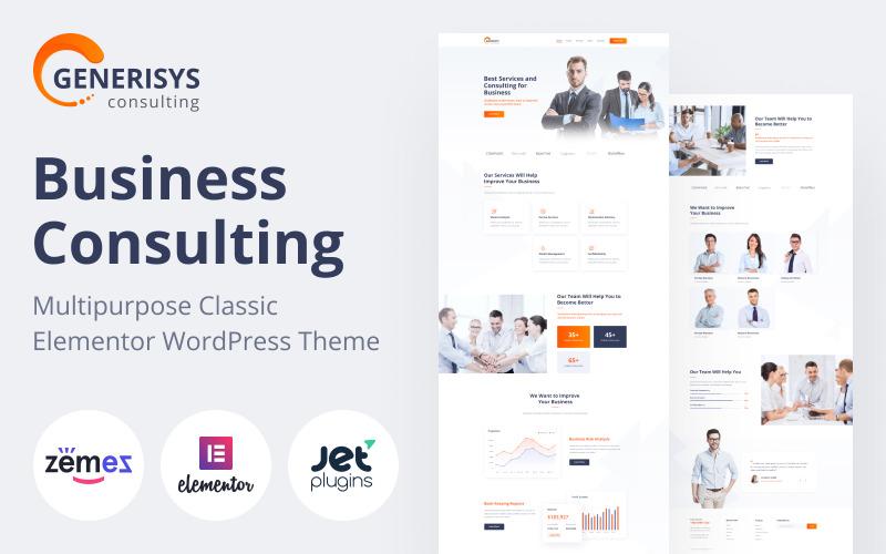 Generisys - Üzleti tanácsadás Többcélú klasszikus WordPress Elementor téma