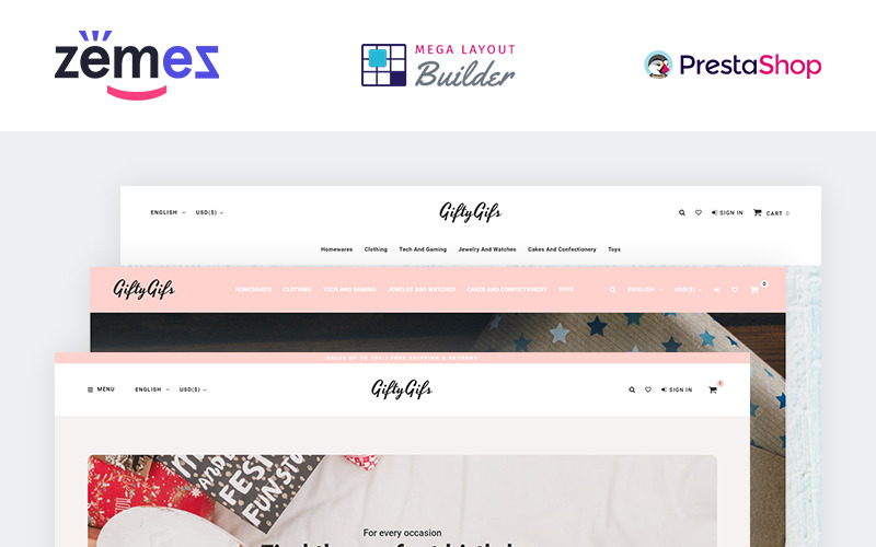 GiftyGifts - Тема подарункового магазину Clean Bootstrap E-Commerce PrestaShop Theme