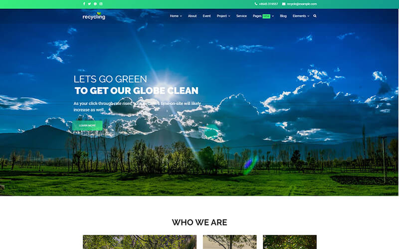 Reciclagem - Modelo Joomla sem fins lucrativos / ambiental
