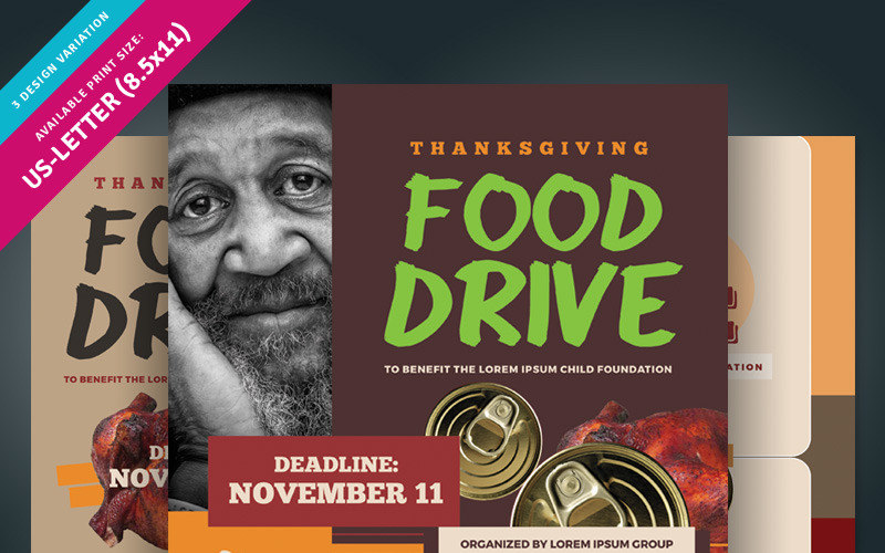 Thanksgiving Food Drive Flyer Corporate Identity Template 85009