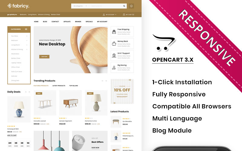 Fabricy - The Mega Furniture Shop OpenCart Template