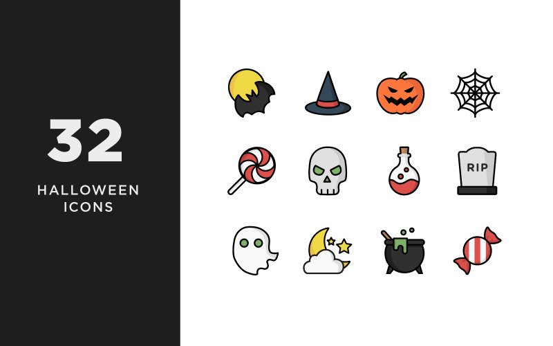 Illustrative Halloween Iconset Template 85220