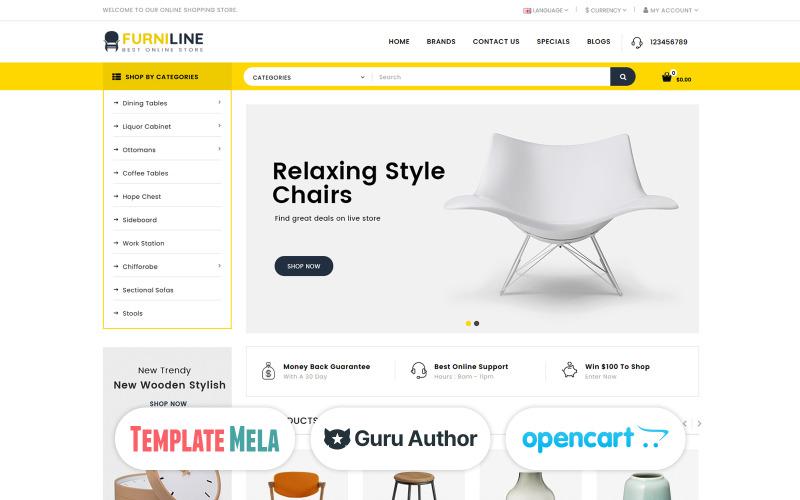 Furniline - Modelo OpenCart para loja de decoração de interiores