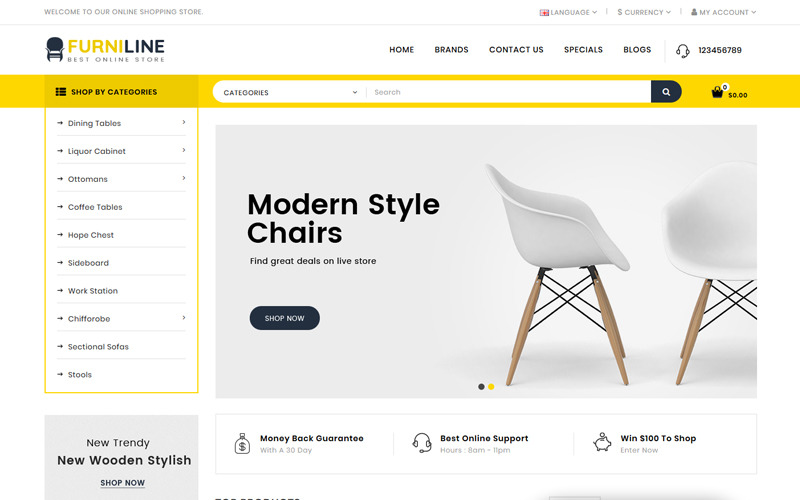 Furniline - Plantilla OpenCart para Tienda de Decoración del Hogar