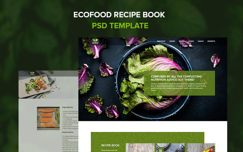 Ecofood - recipe book PSD Template