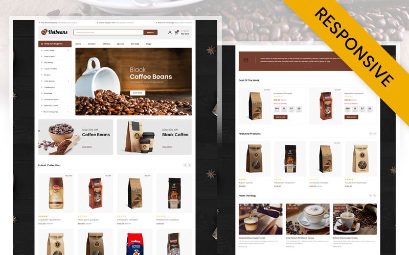 Hotbeans - Coffee Store OpenCart Template