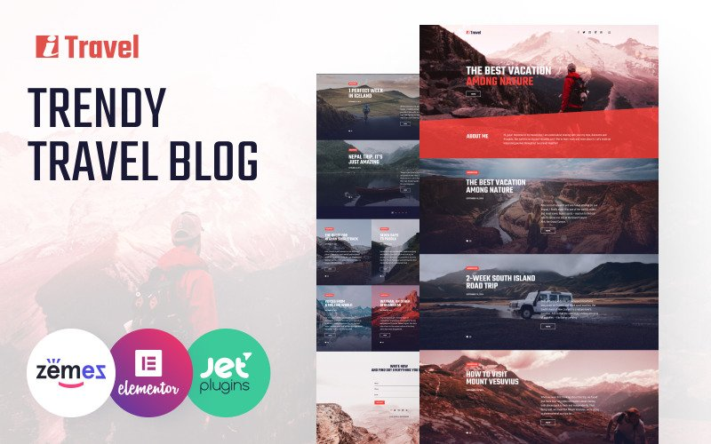 ITravel - Trendy Travel Blog Website-Vorlage für Elementor Builder WordPress Theme