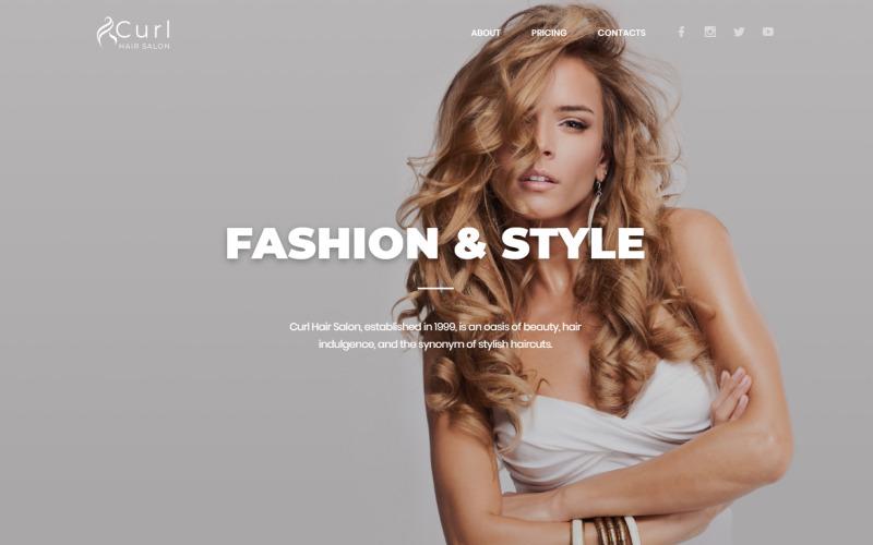 Curl - modelo de página inicial HTML elegante para cabeleireiro