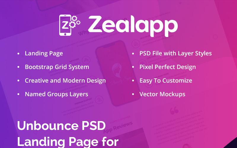PSD шаблон целевой страницы Zealapp