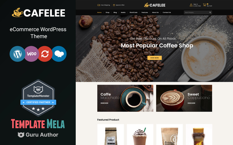 Cafelee - WooCommerce téma s potravinami a restauracemi