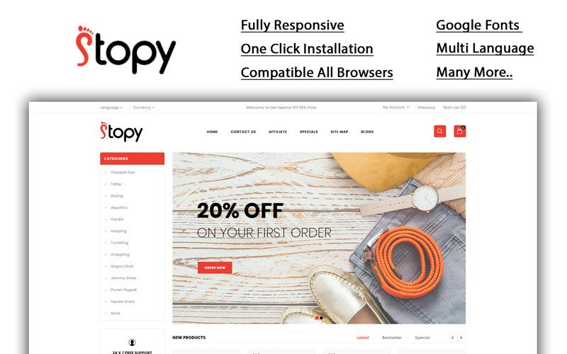 Stopy - Shoes Store OpenCart Template
