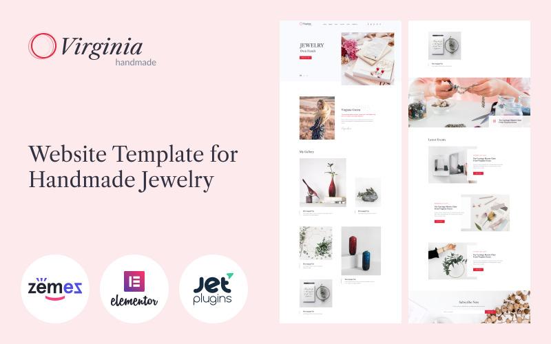 Virginia - Website-sjabloon voor handgemaakte sieraden met Elementor Builder WordPress-thema