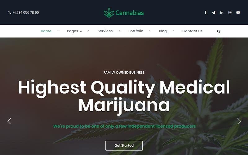 Thème WordPress pour entreprises de marijuana médicale Cannabias