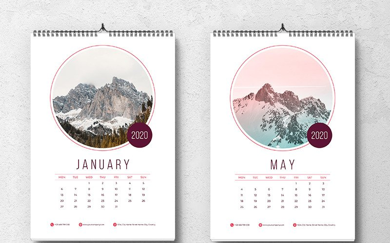 Creative Wall Calendar 2020 With Circle Placeholder Images Planner