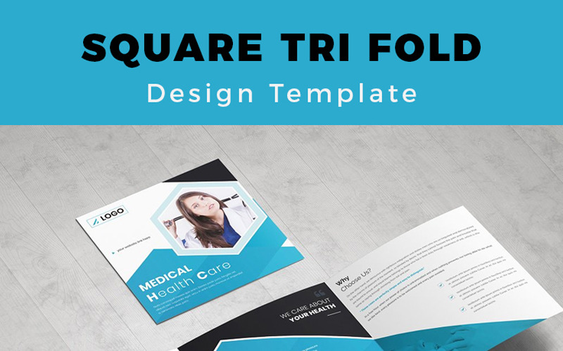 FaxalvenMedical Square Trifold Broşür - Kurumsal Kimlik Şablonu