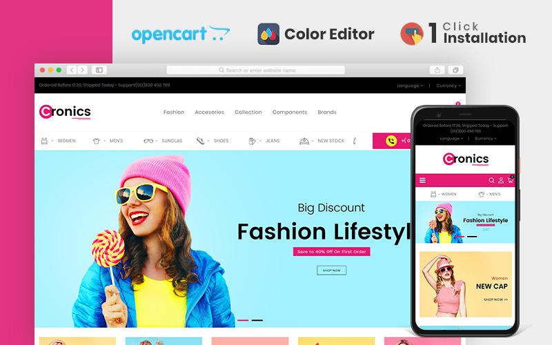 Modello OpenCart del negozio di moda Cronics