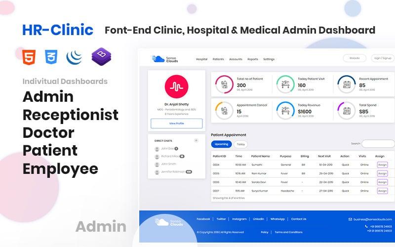 CRM - HR-Clinic | Clinic, Hospital, Medical Admin Template