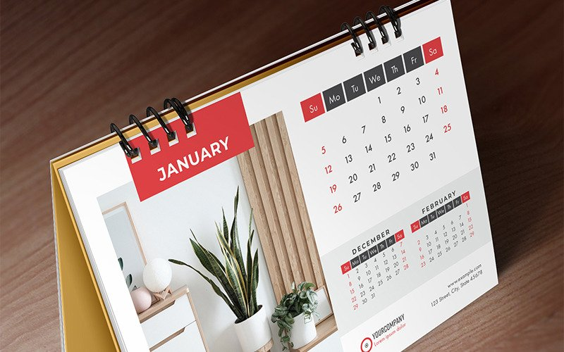 Desk Calendar 2020, Table Calendar, , 26 Pages Planner
