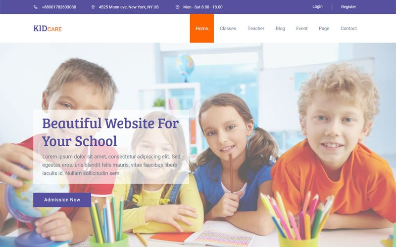Kidcare - Kindergarten & School Muse Template