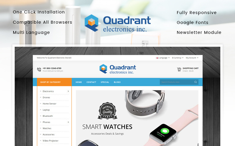 Quadrant - Electronics Store OpenCart Template