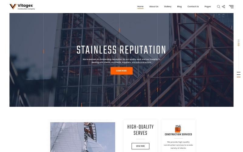 Vitagex - stavební společnost Multipage Modern HTML Web Template