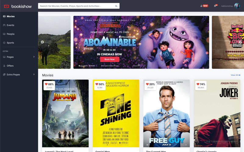 Bookishow - Movies, Events, Sports Website Template