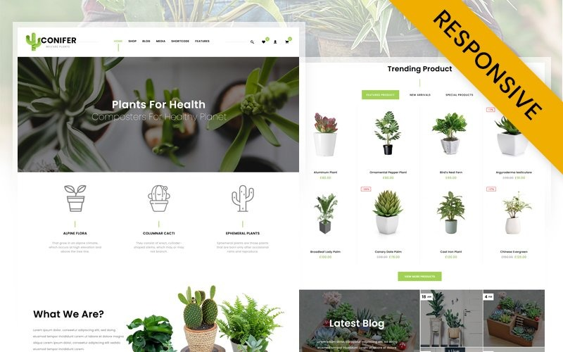 Motyw WooCommerce sklepu z roślinami iglastymi
