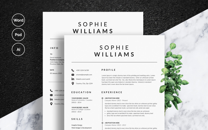 Šablona životopisu Sophie Williams