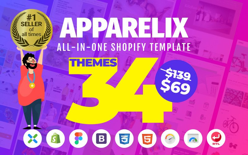 Apparelix - чистая многоцелевая тема Shopify