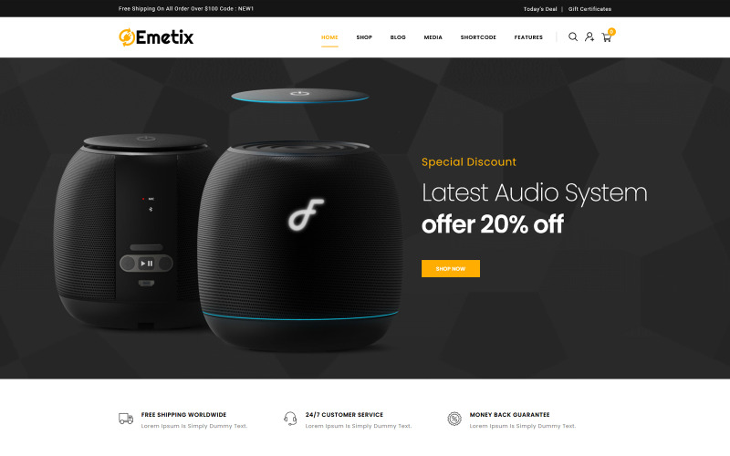 Emetix - motyw WooCommerce dla sklepu cyfrowego